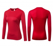 Women's Yoga Shirts With Thumb Holes Red Long Sleeve Gym Workout Tops [20180924-5]