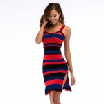 Women's Camisole Dress With Slits Blue Red Knitted Sheath Dresses