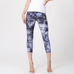 Women's Yoga Capri Leggings Grey Printed Pants