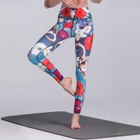 Women's Workout Leggings Floral Red Yoga Pants Gym Tights