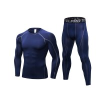 Men's Workout Clothes LS Navy Fitness Athletic Gym Suits