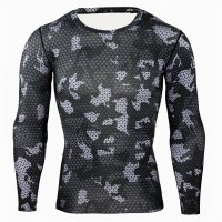 Men's Running Shirt Long Sleeve Black Compression Workout Top