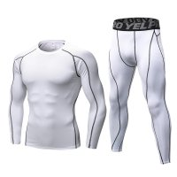 Men's Workout Clothes LS White Fitness Athletic Gym Suits