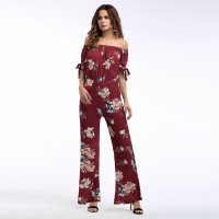 2018 Women's Jumpsuits Off Shoulder Shaped Flowers Print Red Chiffon