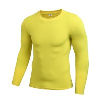 Yellow Long Sleeve Workout Shirt Men's Gym Top