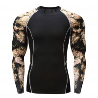 Men's Long Sleeve Running Shirt Black&Gold Sports Top