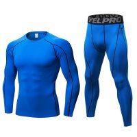 Men's Workout Clothes LS Blue Fitness Athletic Gym Suits
