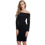 Women's Off Shoulder Dress Shaped LS Black Package Hip Skirt
