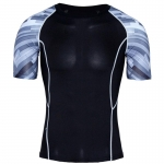 Men's Fitness Shirt Grey Stripes Athletic Top
