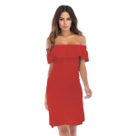 Women's Off Shoulder Dress Short Red Graduation Party Dress