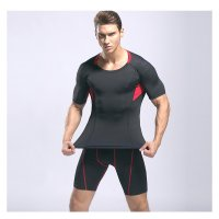 Men's Workout Clothes Black Red Fitness Gym Wear Running Suits