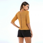 Women's Knitting Top Yellow Half Sleeve Thin Knitwear Shirt [20180423-2]