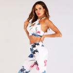 Women's Workout Clothes Floral White Yoga Sets Gym Uniform [20190206-1]