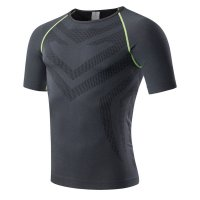 Men's Athletic Shirts Summer Black Green Running Tops Quick Dry Workout Tees