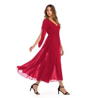 Women's Casual Dress Red V-Neck Chiffon Bell Sleeve Maxi Dresses