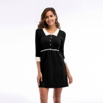 Women's Party Dress Half Sleeve Slim Fit Turnover Collar Knitting Black Skirt [20180409-8]