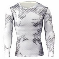 Men's Running Shirt Long Sleeve White Compression Workout Top