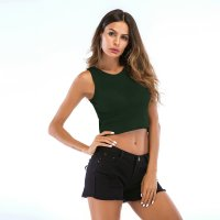 Women's Tank Tops Bare-midriff Thin Green Knitwear Vest