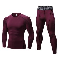 Men's Workout Clothes LS Claret Fitness Athletic Gym Suits