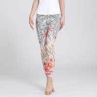 Floral Yoga Leggings Women's Grey&Orange Pants