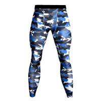 Men's Compression Pants Blue Camo Workout Tights