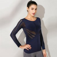 Women's Yoga Tops Long Sleeve Mesh Seamless Navy Workout Tees