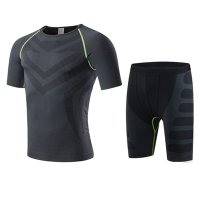 Men's Gym Clothes Black Green Bodybuilding Workout Fitness Suits