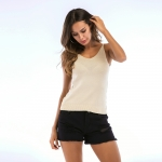 Women's Camisole Tops Apricot V-Neck Knitwear Summer Halters Vest [20180420-4]