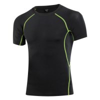 Men's Compression T-Shirts Summer Black Workout Tops Gym Running Tees