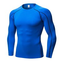 Men's Fitness Gym Tops Blue Long Sleeve Bodybuilding Workout Shirts