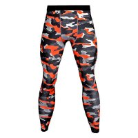 Men's Compression Pants Red Camo Fitness Tights
