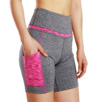 Women's Yoga Shorts With Pockets For Phone Grey and Pink Workout High Waist Leggings