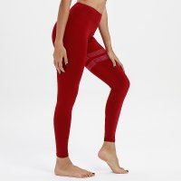 Women's Yoga Leggings High Waist Red Workout Pants Gym Tights
