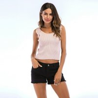 Women's Summer Vest Tops Knitwear Short Thin Halters Pink Tank