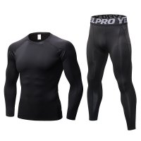 Men's Workout Clothes LS Black Fitness Athletic Gym Suits
