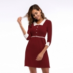 Women's Party Dress Half Sleeve Slim Fit Turnover Collar Knitting Claret Skirt