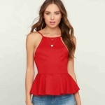 2018 Women's Camisoles Halter Top Red Vest Tank Tops