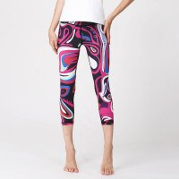 Women's Yoga Capri Leggings Pink&Black Printed Pants