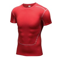 Men's Running Shirts Red Workout Tops Quick Dry Training Fitness Gym Tees
