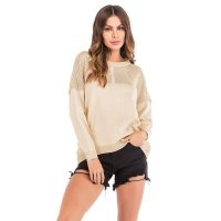 Women's Casual Knit Tops Apricot Long Sleeve Hollow Out Shirt