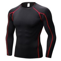Men's Fitness Gym Tops Black Red Long Sleeve Bodybuilding Workout Shirts