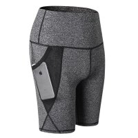 Gray Workout Shorts With Phone Pockets Women's