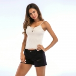 Women's Summer Camisole Tank Tops Apricot Knitwear Halters Shirt