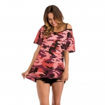 2018 Women's T-shirt Summer Strapless Red Camouflage Loose [20180331-1]