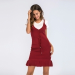 Women's Bodycon Dress Wine V-Neck Knitwear Lady Dresses [20180427-5]