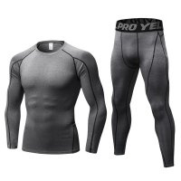 Men's Workout Clothes LS Grey Fitness Athletic Gym Suits