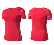 Women's Yoga Shirts Tops Red Running Crew Neck Sports Tees [20180919-1]