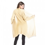 Women's Cardigan Apricot Long Sleeve Thin With Fringe Knitting Coat [20180720-3]