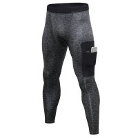 Men's Gym Pants Grey&Black With Side Phone Pocket