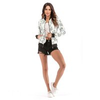 Women's White Baseball Floral Bomber Jacket Varsity Zip Up Outerwear